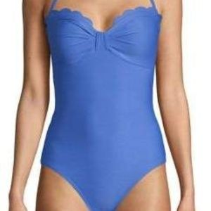 Kate Spade Scalloped Bandeau 1pc Halter Swimsuit